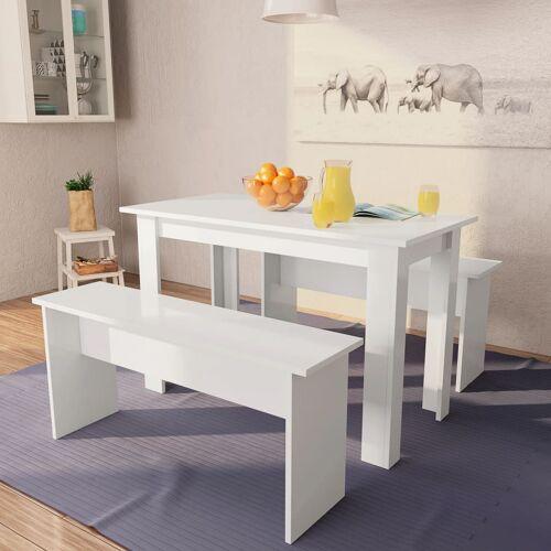 vidaXL 3-tlg. Essgruppe Tisch und Bänke Spanplatte Weiß