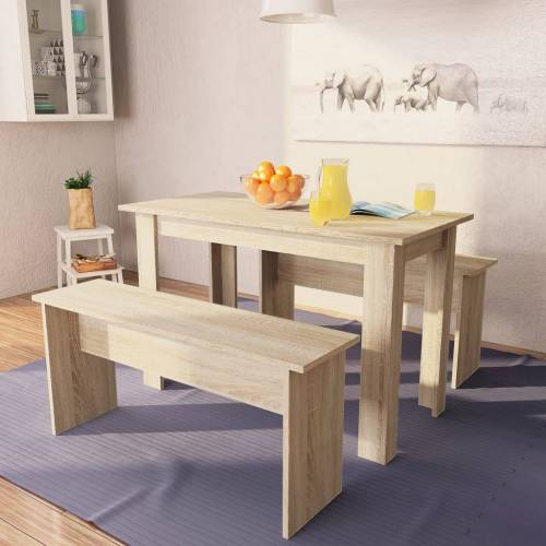 vidaXL 3-tlg. Essgruppe Tisch und Bänke Spanplatte Eiche