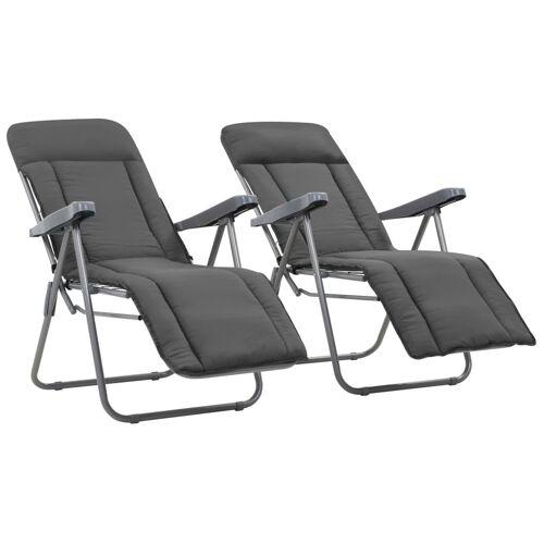 vidaXL Klappbare Gartenstühle mit Polstern 2 Stk. Grau