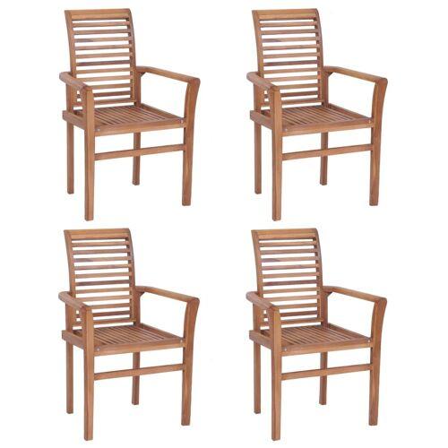 vidaXL Esstischstühle 4 Stk. Stapelbar Teak Massivholz