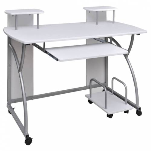 vidaXL Computertisch PC Tisch Mobiler Computerwagen Bürotisch Laptop weiß