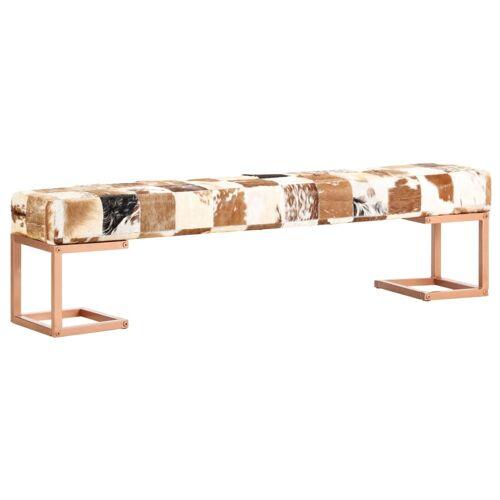vidaXL Sitzbank 160 cm Braun Patchwork Echtes Ziegenleder
