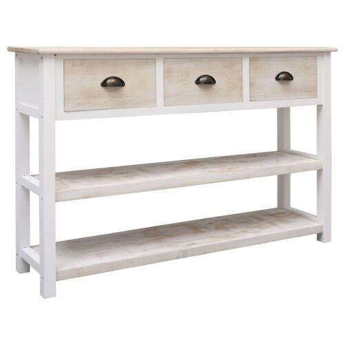 vidaXL Sideboard Natur und Weiß 115×30×76 cm Holz