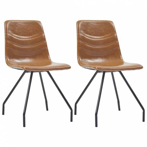 vidaXL Esszimmerstühle 2 Stk. Cognac Kunstleder