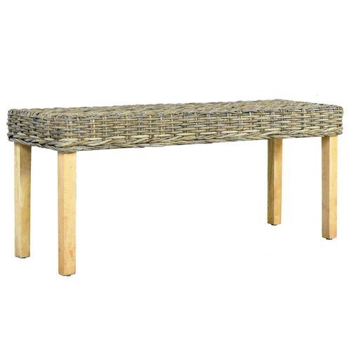 vidaXL Sitzbank 110 cm Natur Kubu-Rattan und Massivholz Mango
