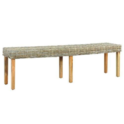vidaXL Sitzbank 160 cm Natur Kubu-Rattan und Massivholz Mango