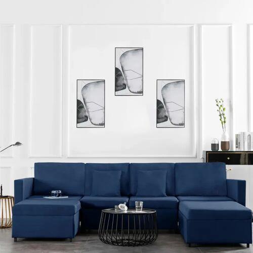 vidaXL 4-Sitzer Ausziehbares Schlafsofa Stoff Blau