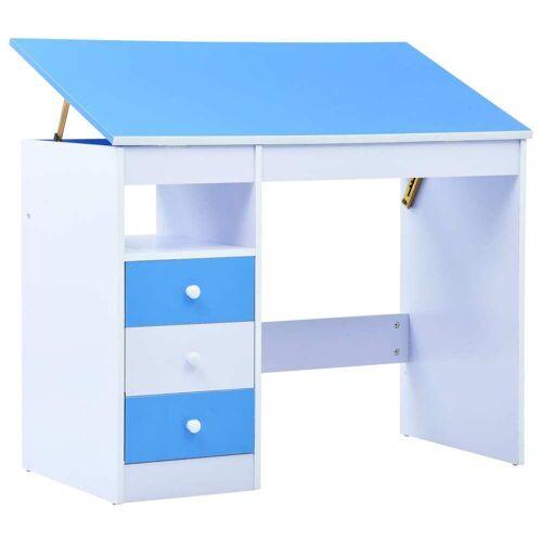vidaXL Kinderschreibtisch Kippbar Blau und Weiß