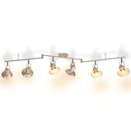 vidaXL Deckenlampe für 6 Glühlampen E14 Silber