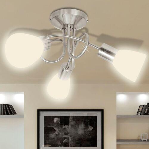 vidaXL Deckenleuchte mit Glas-Lampenschirmen für 3 E14 Glühlampen