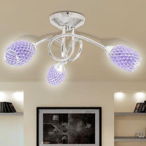 vidaXL Beleuchtung Decken Leuchte Lampe Deckenlampe lila 3 x G9