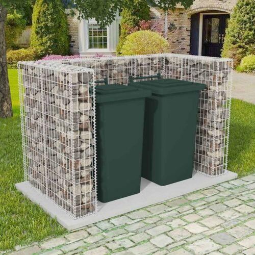 vidaXL Gabionen-Mülltonnenverkleidung für 2 Tonnen Stahl 180×100×120cm