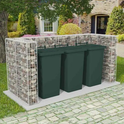 vidaXL Gabionen-Mülltonnenverkleidung für 3 Tonnen Stahl 250×100×120cm
