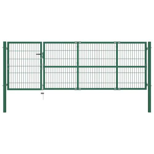 vidaXL Gartentor mit Pfosten 350 x 100 cm Stahl Grün