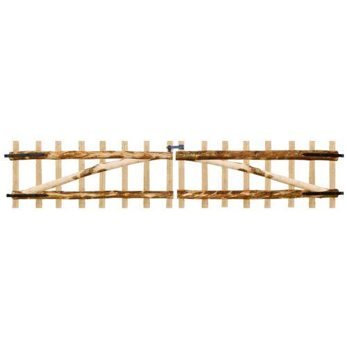 vidaXL Zauntor Doppelflügelig Haselnussholz 300×60 cm