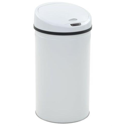 vidaXL Sensor-Mülleimer 42 L Weiß