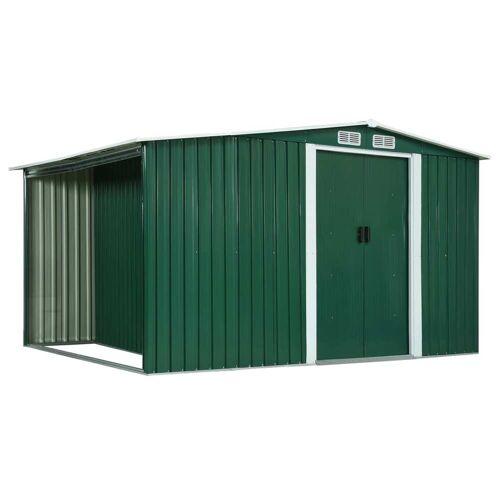 vidaXL Gerätehaus mit Schiebetüren Grün 329,5×131×178 cm Stahl
