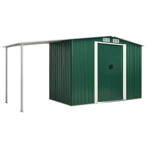 vidaXL Gerätehaus mit Schiebetüren Grün 386×131×178 cm Stahl
