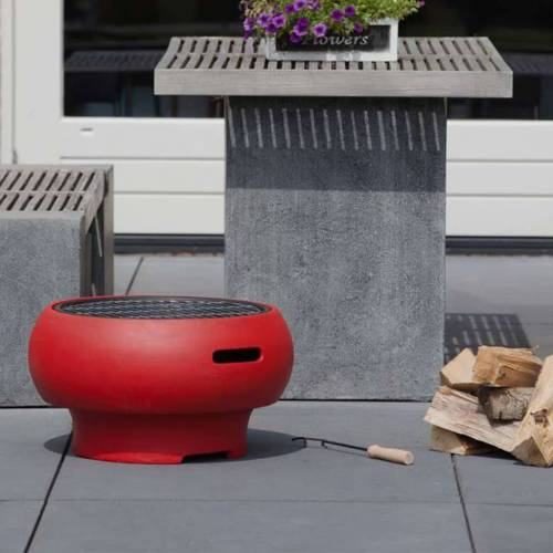 BBGRILL Tragbarer Grill Rot BBQ TUB-R