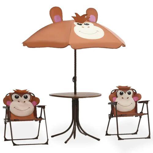 vidaXL 3-tlg. Garten-Bistro-Set für Kinder mit Sonnenschirm Braun