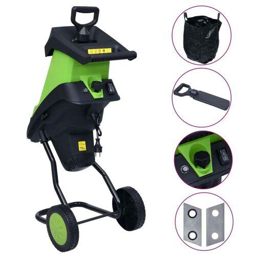 vidaXL Elektrischer Gartenhäcksler mit 2 Ersatzklingen 2400 W