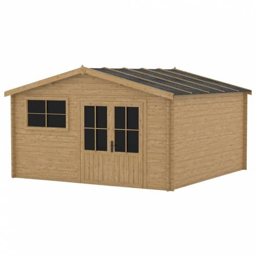 vidaXL Blockhaus mit Fenster 28 mm 400x400 cm Holz