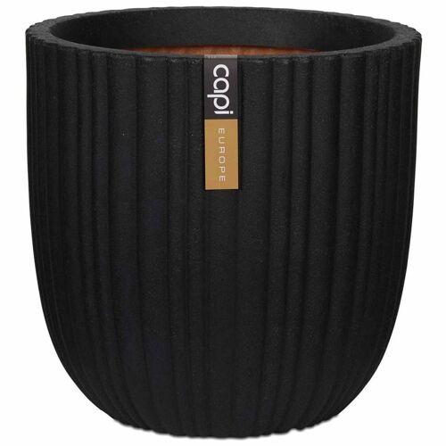 Capi Blumentopf Urban Tube Oval 43 x 41 cm Schwarz KBLT933