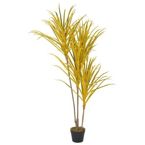 vidaXL Künstliche Pflanze Dracaena mit Topf Gelb 125 cm