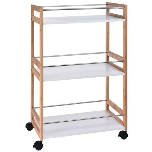 Excellent Houseware Küchenwagen 51×30×80 cm Bambus Beige Weiß
