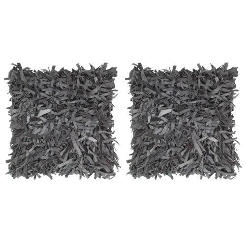 vidaXL Kissen 2 Stk. Hochflor Grau 45 x 45 cm Leder und Baumwolle