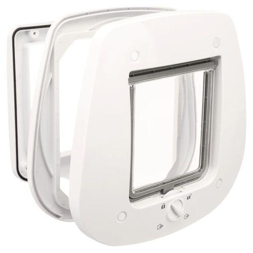 TRIXIE 4-Wege Katzenklappe für Glastüren 27 x 27 cm Weiß