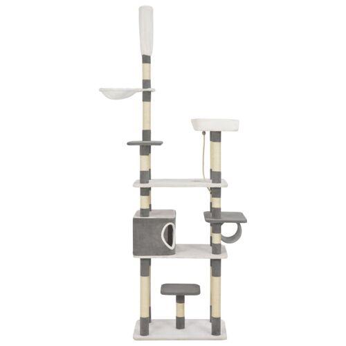 vidaXL Katzen-Kratzbaum mit Sisal-Kratzsäulen Grau 235 cm