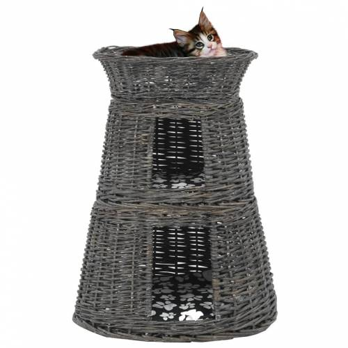 vidaXL 3-tlg. Katzenkorb-Set mit Kissen Grau 47x34x60 cm Natur Weide