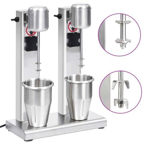vidaXL Milchshake-Mixer mit zwei Bechern Edelstahl 2 L