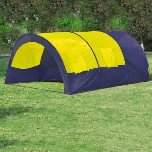 vidaXL Tunnelzelt Campingzelt Familienzelt 6 Personen Gruppenzelt blau-gelb