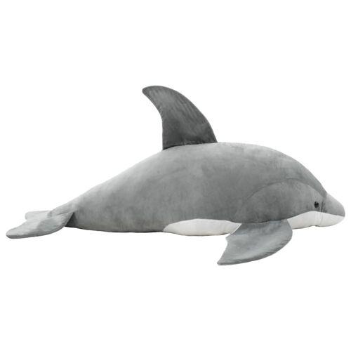 vidaXL Delphin Kuscheltier Plüsch Grau