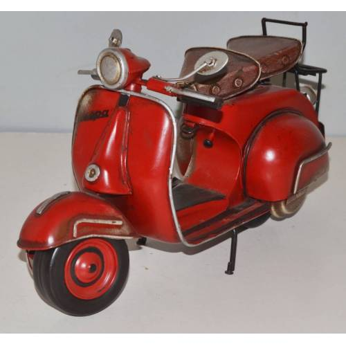 JS GartenDeko Blechmodell Roller Nostalgie Modellauto Oldtimer Marke Vespa Motorroller Modell aus Blech L 32 cm