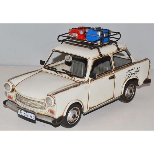 JS GartenDeko Blechauto Nostalgie Modellauto Oldtimer Trabant Trabi mit Dachgepäck Koffer aus Blech L 28 cm
