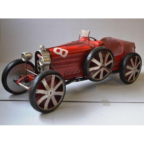 JS GartenDeko Blechauto Nostalgie Modellauto Oldtimer Automarke Bugatti Type 35C Rot XXL Modell aus Blech L 120 cm