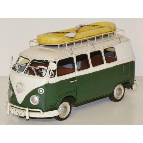 JS GartenDeko Blechauto Nostalgie Modellauto Oldtimer Automarke VW Bulli Modell T2 Bus aus Blech L 27 cm