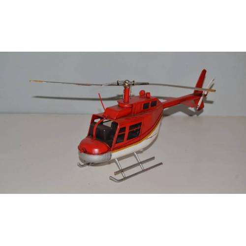 JS GartenDeko Blechmodell Nostalgie Modellhubschrauber Oldtimer Bell Hubschrauber Helikopter Modell Blech L 33 cm