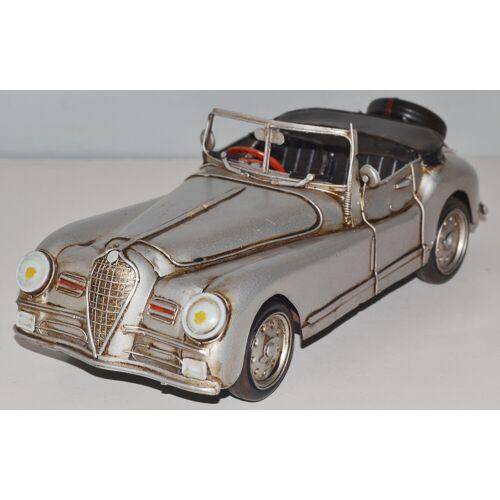 JS GartenDeko Blechauto Nostalgie Modellauto Oldtimer Alfa Romeo 6 C Modell 1951 Italien aus Blech L 31 cm