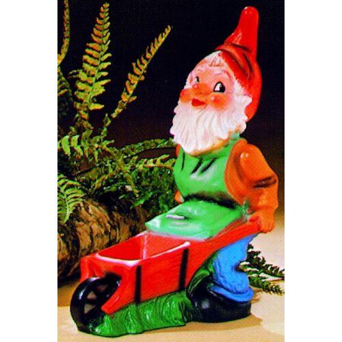 OM Gartenzwerg mit Schubkarre Figur Zwerg H 45 cm Gartenfigur aus Kunststoff