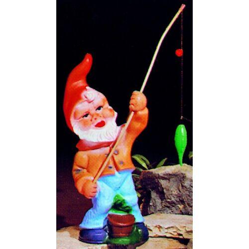 OM Gartenzwerg als Angler Figur Zwerg H 31 cm Gartenzwerg Gartenfigur aus Kunststoff