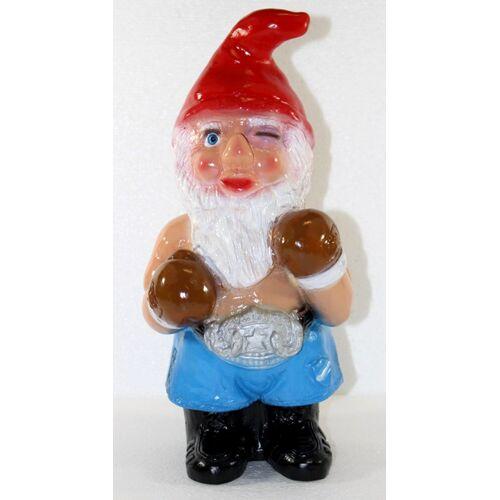 Rakso Deko Figur lustiger Zwerg Boxer H 34 cm Spaß Gartenzwerg Gartendeko Gartenfigur aus Kunststoff