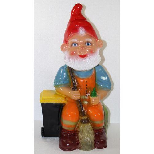 Rakso Gartenzwerg Deko Garten Figur Zwerg Straßenkehrer sitzend mit Besen aus Kunststoff H 46 cm