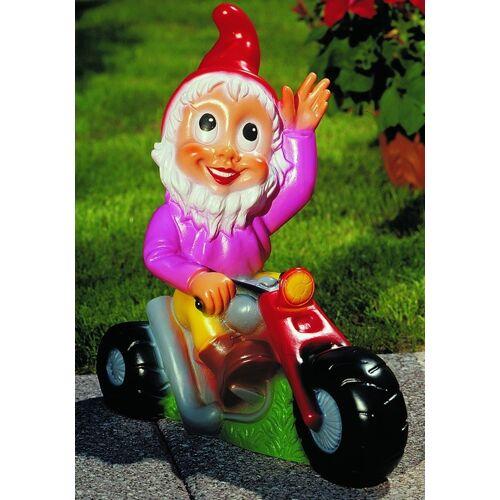 OM Gartenzwerg auf Motorrad Figur Zwerg H 37 cm Gartenfigur aus Kunststoff