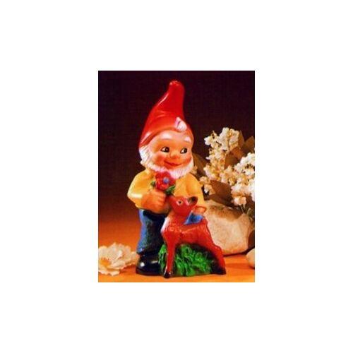 OM Gartenzwerg mit Reh Figur Zwerg H 27 cm aus Kunststoff