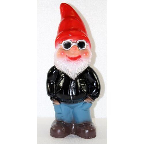 Rakso Deko Figur lustiger Zwerg H 34 cm Spaß Gartenzwerg mit Brille Gartendeko Gartenfigur aus Kunststoff