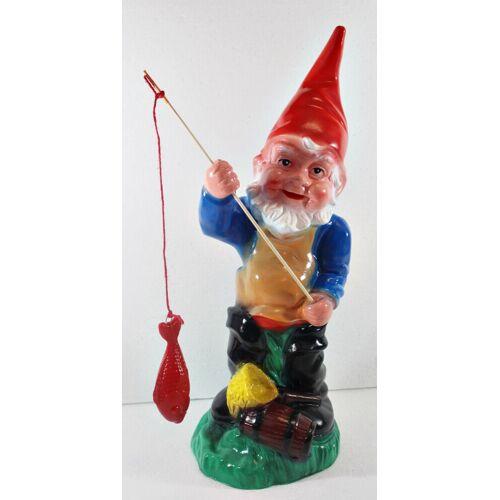 OM Gartenzwerg Figur Zwerg als Angler H 43 cm stehend Gartenzwerg Gartenfigur aus Kunststoff